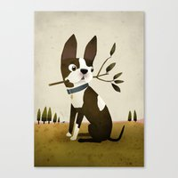 boston terrier Canvas Prints featuring Boston Terrier by Patrick Latimer
