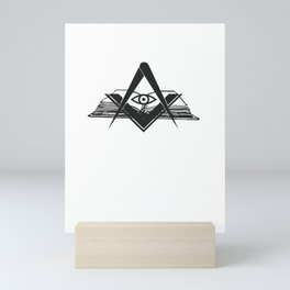 Masonic compasses with book and all-seeing eye black design Mini Art Print
