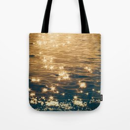 Sparkling Ocean in Gold and Navy Blue Tote Bag