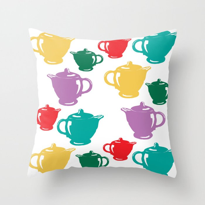 Favoriteware Teapots Throw Pillow