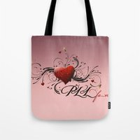 pretty little liars Tote Bags featuring Pretty Little Liars fan heart by MaNia Creations