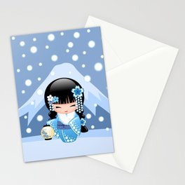 Japanese Winter Kokeshi Doll at Blue Mountain Stationery Cards