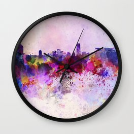 Seoul skyline in watercolor background Wall Clock