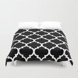 Moroccan Black and White Lattice Moroccan Pattern Duvet Cover