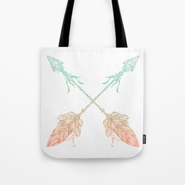 Arrows Turquoise Coral on White Tote Bag
