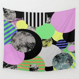 Cluttered Circles - Abstract, Geometric, Pop Art Style Wall Tapestry