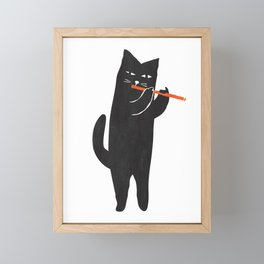 Black cat with flute Framed Mini Art Print
