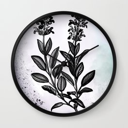 Sage Botanical Illustration Wall Clock