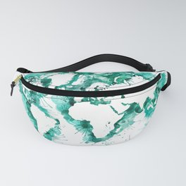 Watercolor splatters world map in teal Fanny Pack