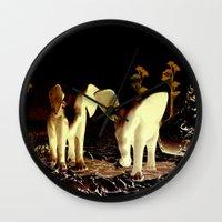 baby elephant Wall Clocks featuring Baby elephant by nicky2342