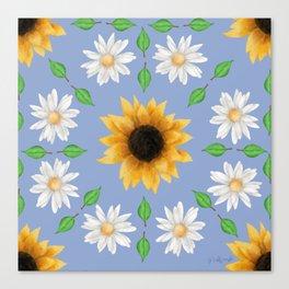 Flower Mandala - Serenity Blue Canvas Print