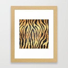 Gold Mosaic Stripes Framed Art Print