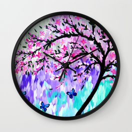 cherry blossom with Ulysses butterflies Wall Clock