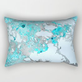 Metallic silver and turquoise marble  Rectangular Pillow