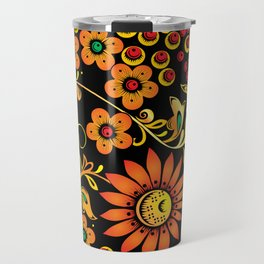 Black floral khokhloma Travel Mug