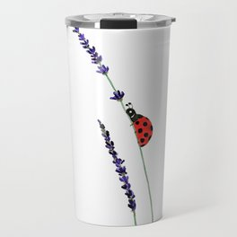 red ladybug and purple lavender Travel Mug