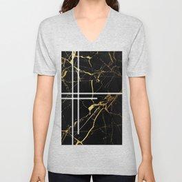 Black-Gold Marble Impress Unisex V-Neck