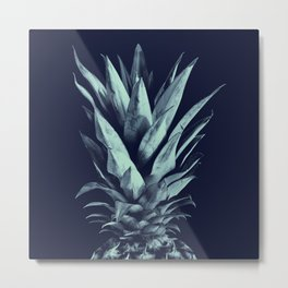 Navy Blue Pineapple Dream #1 #tropical #fruit #decor #art #society6 Metal Print