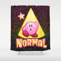 kirby Shower Curtains featuring Kirby Normal by likelikes