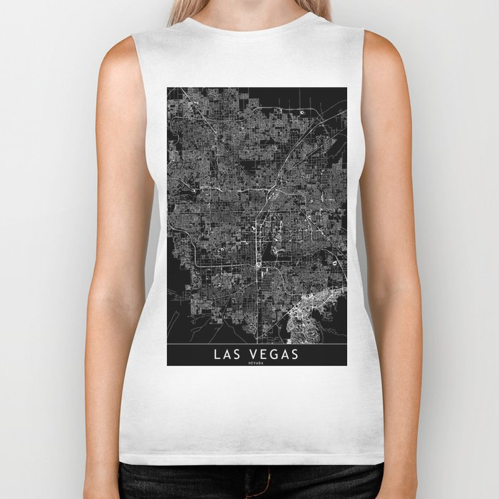 Las Vegas Black Map Biker Tank