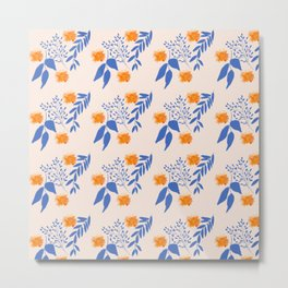 Floral Pattern Indigo Orange Blue Metal Print