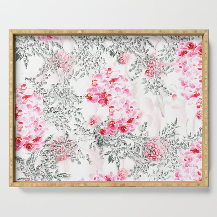 PINK ORCHIDS IN SPRING BLOOM Serving Tray