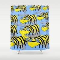 bees Shower Curtains featuring Bees by David Abse
