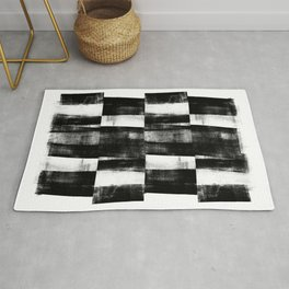 Black and White Handmade Graphic Abstract Pattern Rug