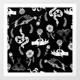 Linocut snakes hand rose floral black and white spooky gothic pattern Art Print