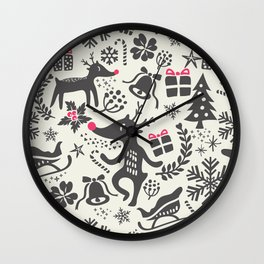 Christmas pattern with gift boxes and snowflakes. Wall Clock