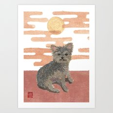 Yorkie and Pink Sunset, Mixed Media Art Print