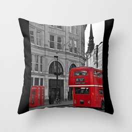 London Bus & Telephone Boxes. Throw Pillow