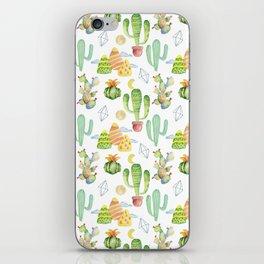 Modern green yellow hand painted geometrical tropical cactus iPhone Skin