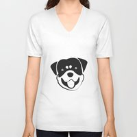 rottweiler V-neck T-shirts featuring Rottweiler by anabelledubois