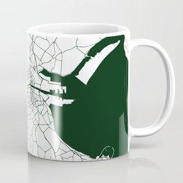 White on Dark Green Dublin Street Map Coffee Mug