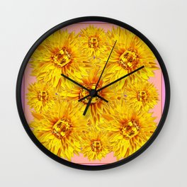 Golden Topaz Gems Sunflowers Pink & Coral Abstract Wall Clock