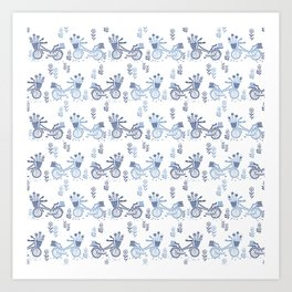 Bicycles spring cute white and navy pattern bike print by andrea lauren Art Print