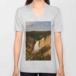 Majestic Yellowstone Upper Falls Unisex V-Neck