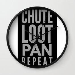 Chute Loot Pan Repeat Wall Clock