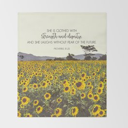 Proverbs and Sunflowers Throw Blanket