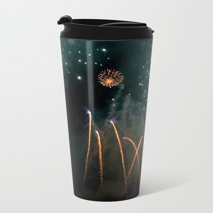 Fireworks Face Metal Travel Mug