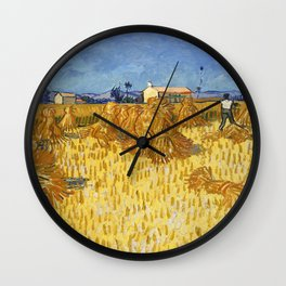 Corn Harvest in Provence by Vincent van Gogh Wall Clock