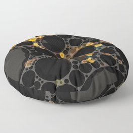 noella - dark abstract black brown yellow gold taupe tan Floor Pillow