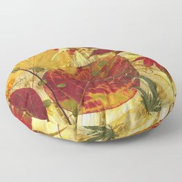 Fall Pressed Leaves Floor Pillow