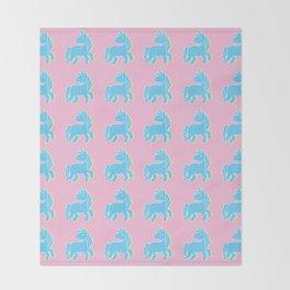 Blue unicorn in a pink world Throw Blanket