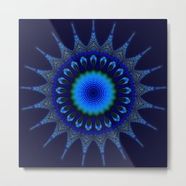 Blue kaleidoscope fractal star Metal Print