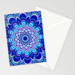 Neon blue striped mandala Stationery Cards