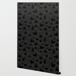 Black Cats Halloween Pattern Dark Wallpaper