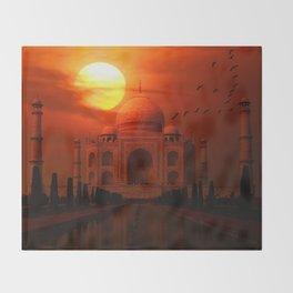 Taj Mahal Sunset Throw Blanket