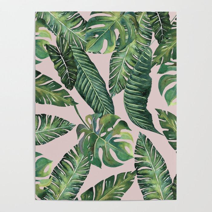 Jungle Leaves, Banana, Monstera Pink #society6 Poster